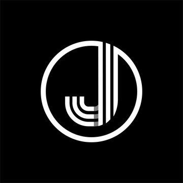 J capital letter made of of three white stripes enclosed in a circle . Overlapping with shadows monogram, logo, emblem. Trendy design.