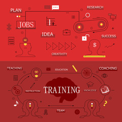 Flat Design Icons On Red Background-Vector Illustration,Graphic Design. For Web, Websites, Print Materials. Thin Line