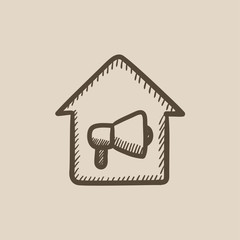 House fire alarm sketch icon.
