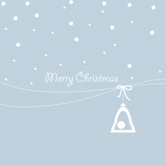 Cover design for the greeting card.Christmas bell on the blue background with the phrase 'Merry Christmas'.