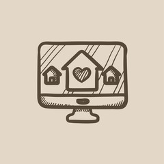 Smart house technology sketch icon.