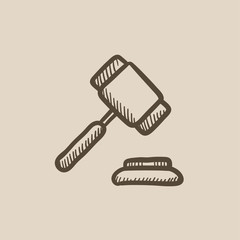 Auction gavel sketch icon.