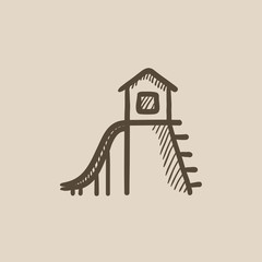 Playhouse with slide sketch icon.