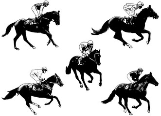 racing horses and jockeys illustration 2