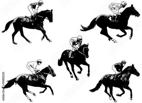 Racing Horses And Jockeys Illustration 2 Stock Image And Royalty
