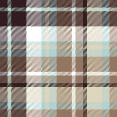 Brown blue check plaid seamless pattern