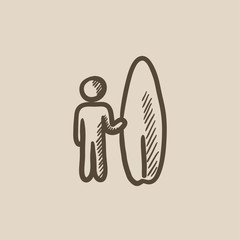 Man with surfboard sketch icon.