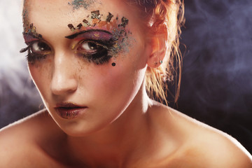 young beautiful woman with colorful bright  make-up