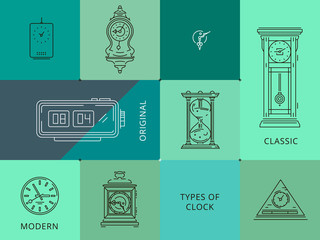 This bundle of vector flat, line icons, illustration included 8 unique types of clocks with classic and modern styles. We can use it for mobile app icon, logo design, print materials and other tasks.