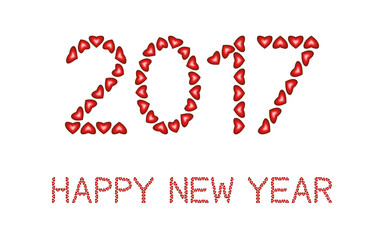 Happy New Year 2017 made from hearts