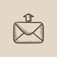 Sending email sketch icon.