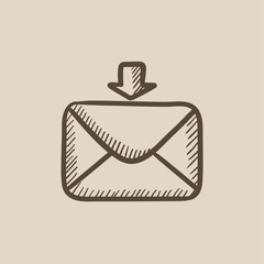 Incoming email sketch icon.