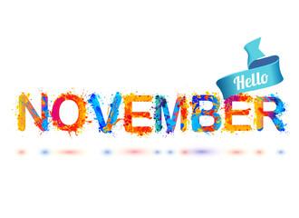 Hello november. Splash paint letters