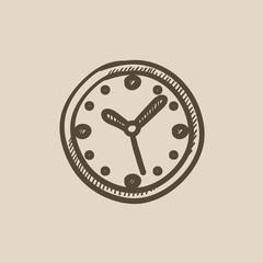 Wall clock sketch icon.