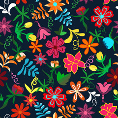 Seamless floral background.Colorful flowers and leafs on dark bl