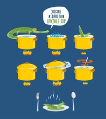 Crocodile Soup on cooking instruction. Step-by-step cooking deli