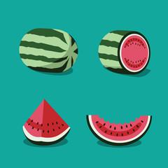 Watermelon icon collection. EPS 10 vector.