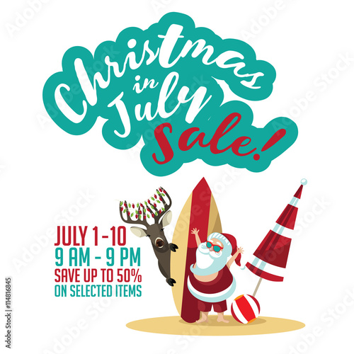 Christmas In July Party Clipart.Christmas In July Sale Marketing Template Eps 10 Vector