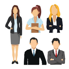 Woman and Man avatar icon. Businesspeople design. Vector graphic