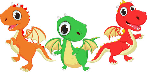 illustration of three cartoon dragon