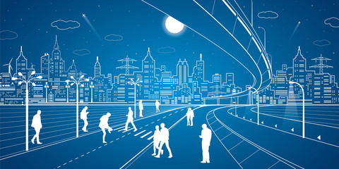 Neon city, people cross the road, white lines town, vector design art