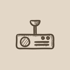 Digital projector sketch icon.