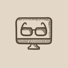Glasses on computer monitor sketch icon.