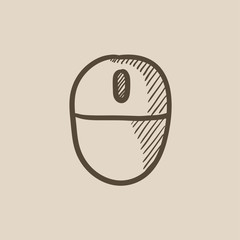Computer mouse sketch icon.