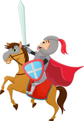 Poster Superheroes illustration of Brave Knight riding on a horse