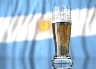 a glass of beer in front a Argentine flag. 3D illustration rendering