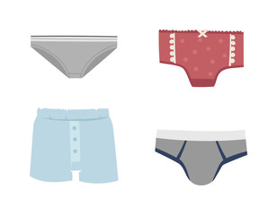 Mens briefs isolated on white background. Fashion underwear clothes underpants boxers. Vector isolated panties briefs textile underpants boxers. Sport drawers fitness men underwear.