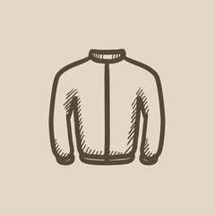 Biker jacket sketch icon.