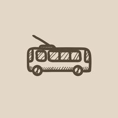 Trolleybus sketch icon.