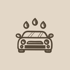 Car wash sketch icon.