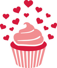 Pink Cupcake with lots of heart