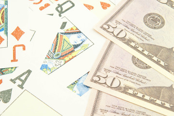background of dollar banknotes and cards