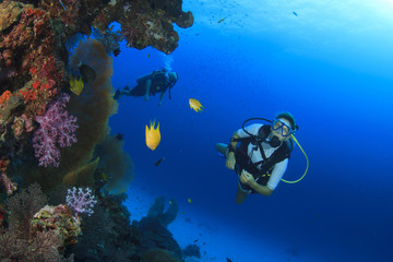 Scuba diving exploring coral reef