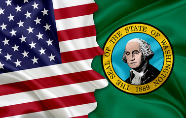 Flag of USA and flag of the State of Washington