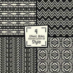 Seamless abstract vector tribal pattern texture in monochrome ba