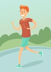 Young man running outdoors character vector flat