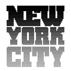 T shirt typography graphics New York. Athletic style NYC. Fashion stylish print for sports wear. Black pixel silhouette. Template for apparel, card, label, poster. Symbol big city. Vector illustration
