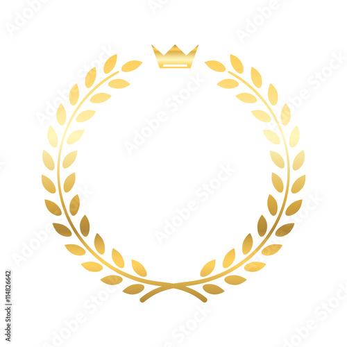 Gold Laurel Wreath With Crown Golden Leaf Emblem Vintage Design