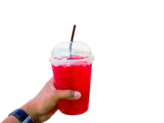 Hand holding give big red ice cup on white.