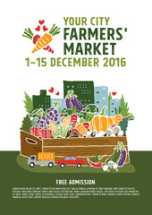 Farmers market poster concept, vector Illustration