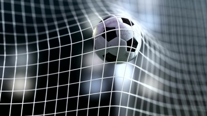 soccer ball slow motion to the goal. Football  3d rendering