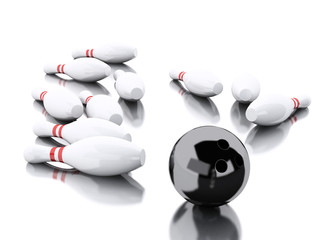 3d Bowling pins and black ball making a strike.