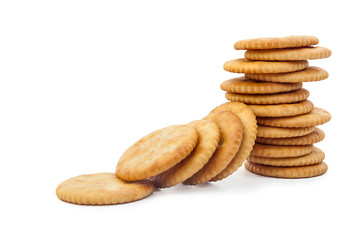 crackers or biscuit on white background