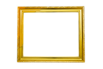 Gold picture classic frame. Isolated over white background