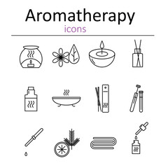 Set of web icons for aromatherapy. Oil burner, Aromatic sticks, aroma oils, candles and other accessories for aromatherapy. Vector illustration.