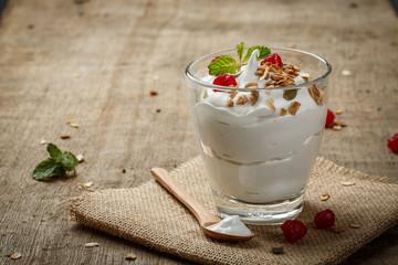 Homemade yogurt with granola, dried fruit and nuts bio - most he